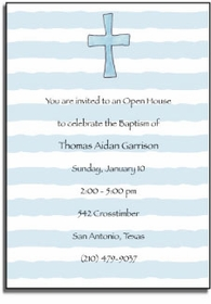 personalized invitations � cross in blue