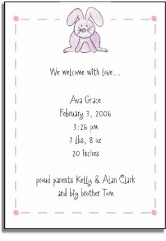personalized invitations � cuddly bunny