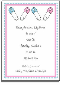 personalized invitations � diaper pins