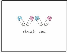 personalized invitations �diaper pins thank you