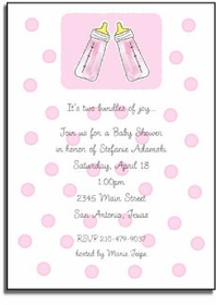 personalized invitations � pink baby bottle