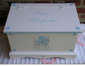 personalized keepsake chest -blue carriage