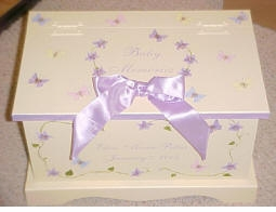 personalized keepsake chest-butterflies and bow