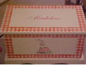 personalized keepsake chest - gingham bunny