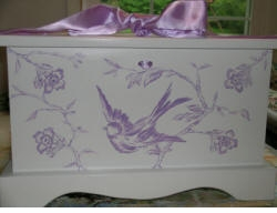 personalized keepsake chest-lavender bird toile
