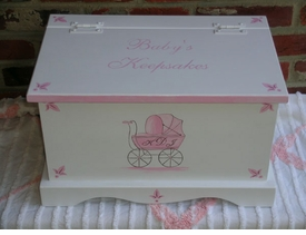 personalized  keepsake chest -pink carriage