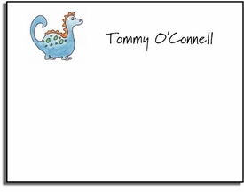 personalized kids notes - blue dinosaur