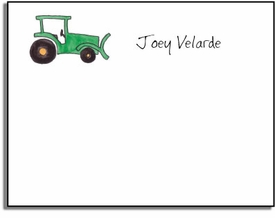 personalized kids notes � green tractor