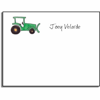personalized kids notes – green tractor