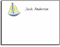 personalized kids notes � sailboat