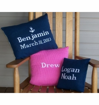 personalized knit baby pillow 12x16
