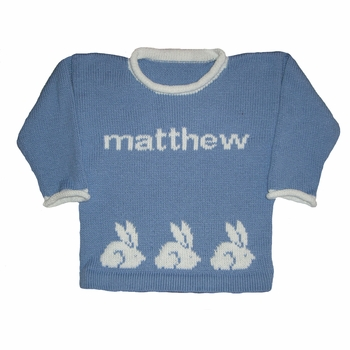 personalized knit bunny sweater