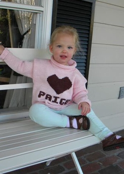 personalized knit heart sweater