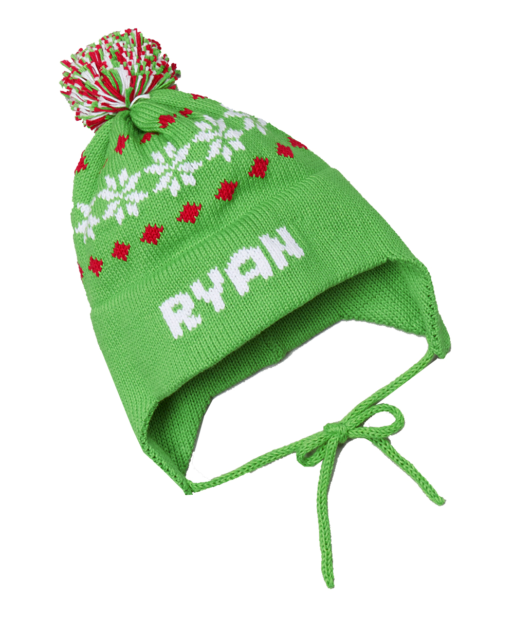 personalized knit snowflake ear flap hat featured at babybox.com 00ae054968d