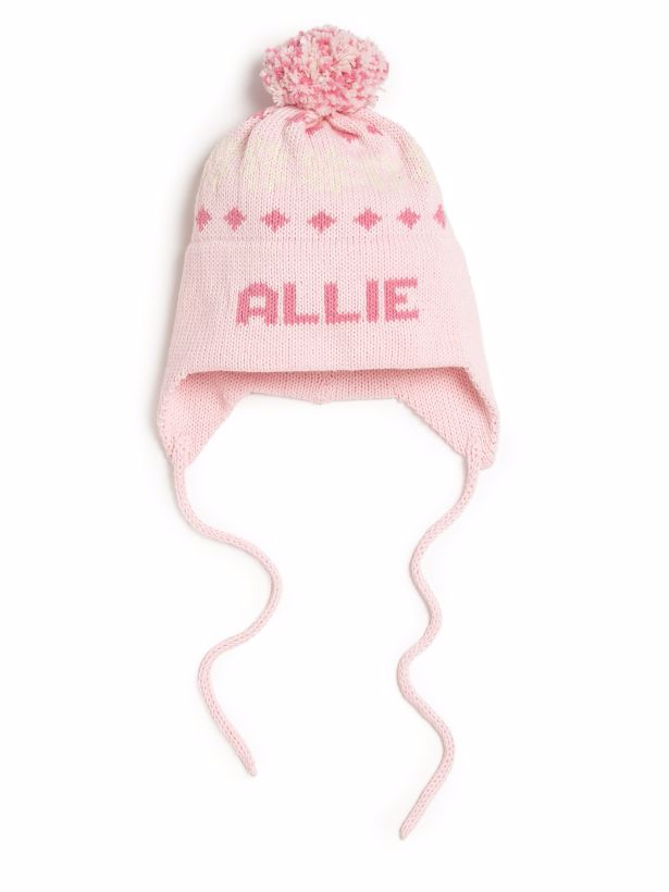 Personalized Knit Snowflake Ear Flap Hat Featured At