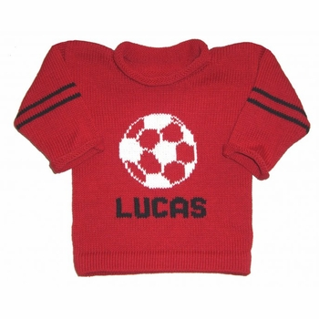 personalized knit soccer sweater