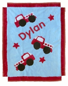 personalized ladder firetruck blanket