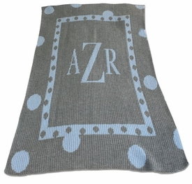 personalized large polka dot baby blanket with initial or name