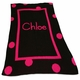 personalized large polka dot full blanket with monogram and name
