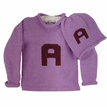 personalized letter sweater and hat set