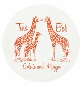 personalized letterpressed coasters giraffe family by haute papier