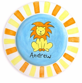 personalized lion baby plate