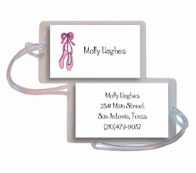 personalized luggage tags � ballerina girl tag