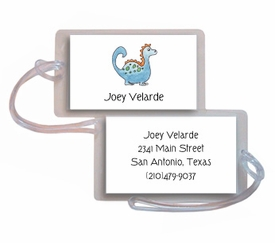 personalized luggage tags � blue dinosaur tag