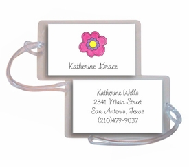 personalized luggage tags � pink daisy tag