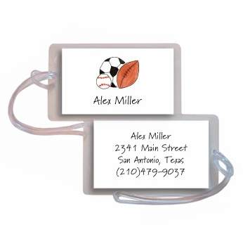 personalized luggage tags – sports fan tag