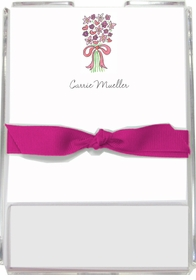personalized memo sets � bouquet in pink