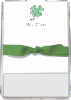 personalized memo sets – lucky clover