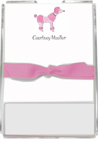personalized memo sets � pink poodle