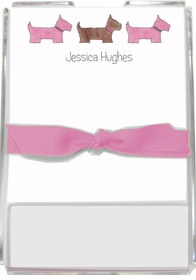 personalized memo sets � preppy pups in pink