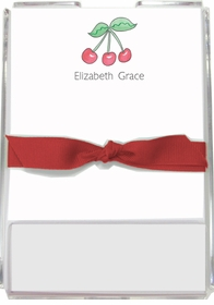 personalized memo sets � rosy red cherries