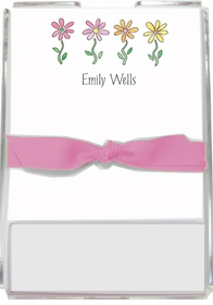 personalized memo sets � row of daisies