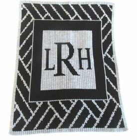 personalized modern monogram blanket