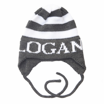 personalized modern stripe hat with earflaps