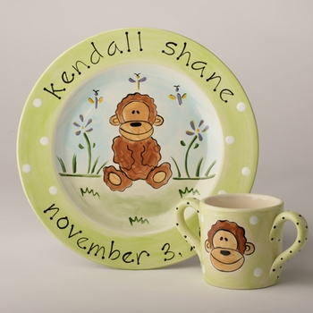 personalized monkey baby plate