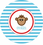 personalized monkey boy plate (style 2p)