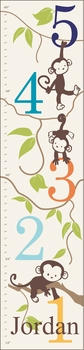 personalized monkeying around boy canvas growth chart