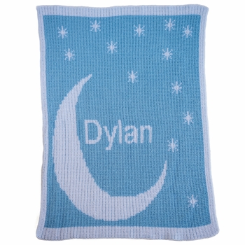 Personalized Moon & Stars Initial Baby Blanket