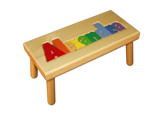 Personalized Name Puzzle Stool Natural With Primary