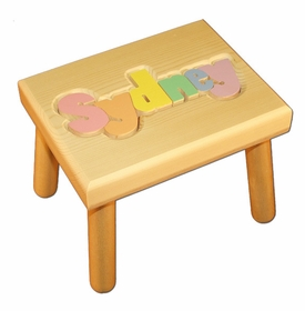 personalized name puzzle stool - natural with pastel colors