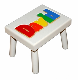 personalized name puzzle stool - white with primary colors