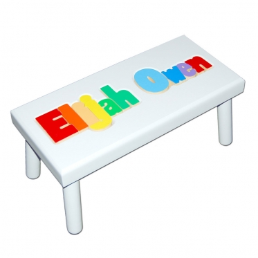 Personalized Name Puzzle Stool White With Primary Colors