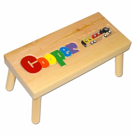 personalized name puzzle stool with car carrier
