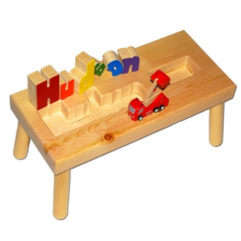 personalized name puzzle stool with firetruck