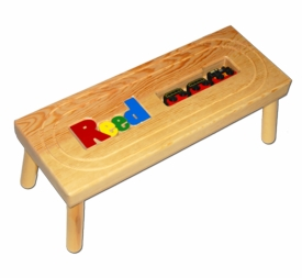 personalized name puzzle stool with locomotive train