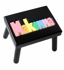 personalized name stool - black with pastel colors